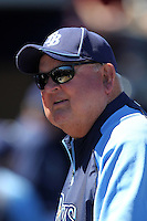Tampa Bay Rays coach Don Zimmer #64 talks with fans before a spring training game against the Baltimore Orioles at the Charlotte County Sports Park on March 5, 2012 in Port Charlotte, Florida.  (Mike Janes/Four Seam Images)
