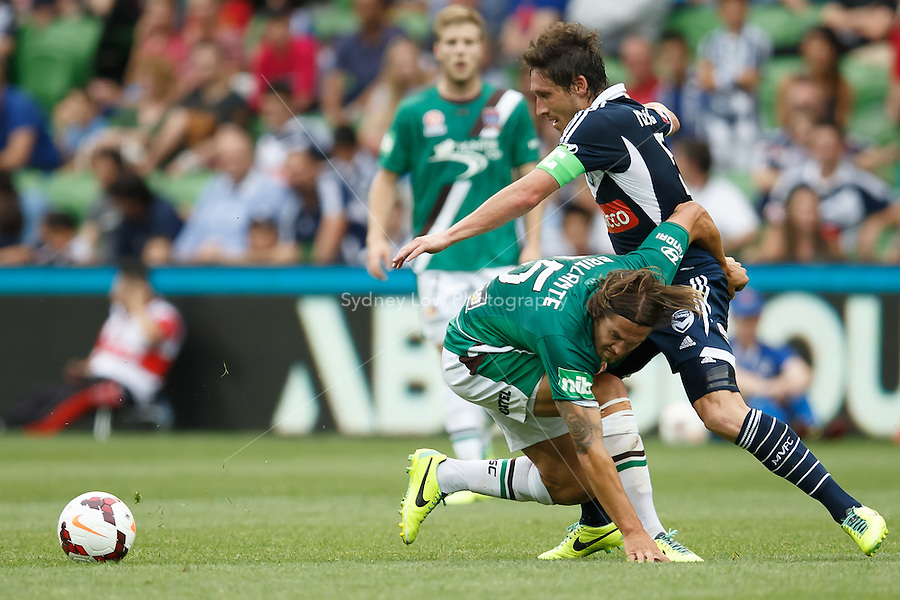 Joshua BRILLANTE of the Jets and Mark MILLIGAN of the Victory compete for the ball in the round nine match between Melbourne Victory and the Newcastle Jets in the Australian Hyundai A-League 2013-24 season at AAMI Park, Melbourne, Australia. Photo Sydney Low/Zumapress<br /> <br /> This image is not for sale on this web site. Please visit zumapress.com for licensing