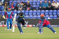 Dimuth Karunaratne (Sri Lanka) pushes into the on side for a single during Afghanistan vs Sri Lanka, ICC World Cup Cricket at Sophia Gardens Cardiff on 4th June 2019