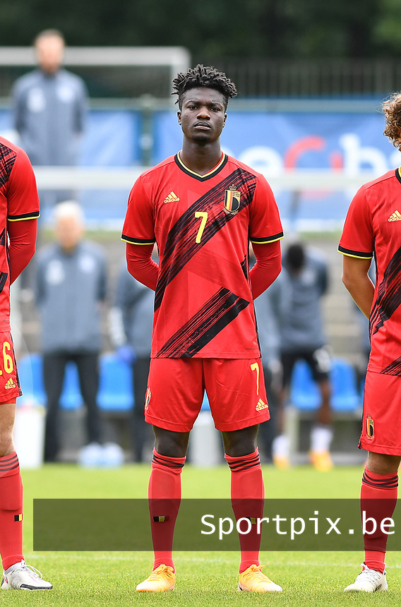 Belgian Samuel Asoma pictured during a friendly soccer game between the national teams Under19 Youth teams of Belgium and Germany on tuesday 8 th of September 2020  in Genk , Belgium . PHOTO SPORTPIX.BE | SPP | DAVID CATRY