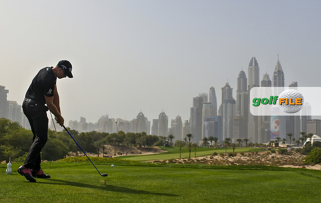 Henrik Stenson (SWE) on the 8th during Round 2 of the Omega Dubai Desert Classic, Emirates Golf Club, Dubai,  United Arab Emirates. 25/01/2019<br /> Picture: Golffile | Thos Caffrey<br /> <br /> <br /> All photo usage must carry mandatory copyright credit (&copy; Golffile | Thos Caffrey)