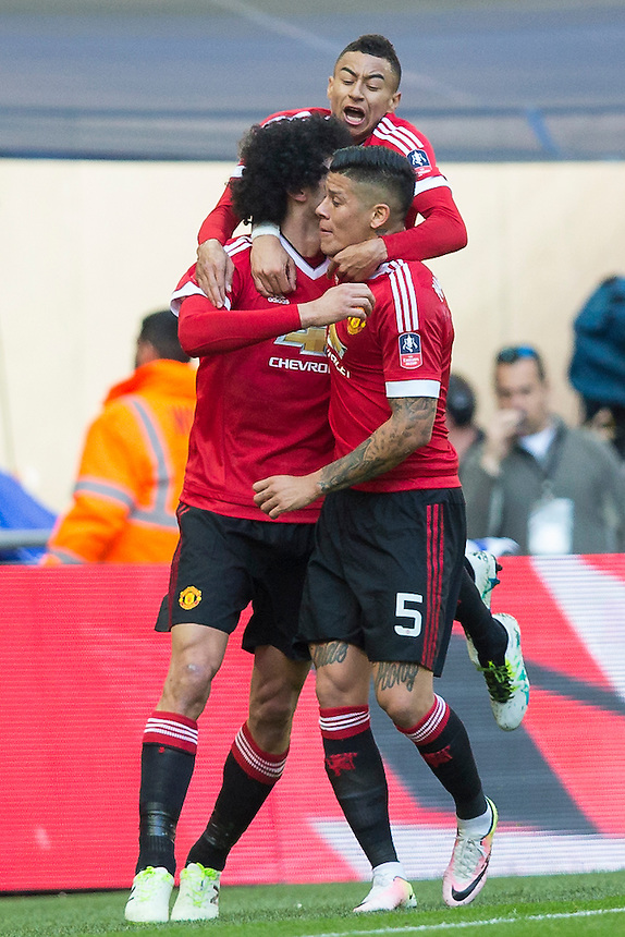 GOAL CELEBRATION - Manchester United's Marouane Fellaini celebrates scoring the opening goal with Marcos Rojo and Jesse Lingard<br /> <br /> Photographer Craig Mercer/CameraSport<br /> <br /> Football - The FA Cup Semi Final - Everton v Manchester United - Saturday 23rd April 2016 - Wembley - London<br /> <br /> &copy; CameraSport - 43 Linden Ave. Countesthorpe. Leicester. England. LE8 5PG - Tel: +44 (0) 116 277 4147 - admin@camerasport.com - www.camerasport.com