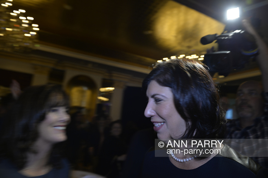 Garden City, New York, USA. 3rd November 2015. Democrat MADELINE SINGAS claims victory over Republican Kate Murray in the hotly contested race for Nassau County District Attorney. Singas, the Acting District Attorney, thanked her supporters at the Nassau County Democrats Election Night Party at the Garden City Hotel, when, with more than 99% of the precincts results in, she was comfortably leading Murray, who's Hempstead Town Supervisor.