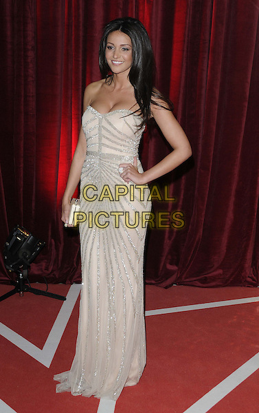 Michelle Keegan.attended the British Soap Awards 2013, Media City, Salford, Manchester, England, UK, 18th May 2013..arrivals full length strapless beige silver dress nude patterned hand on hip  clutch bag smiling sequined sequin sparkly .CAP/CAN.©Can Nguyen/Capital Pictures.