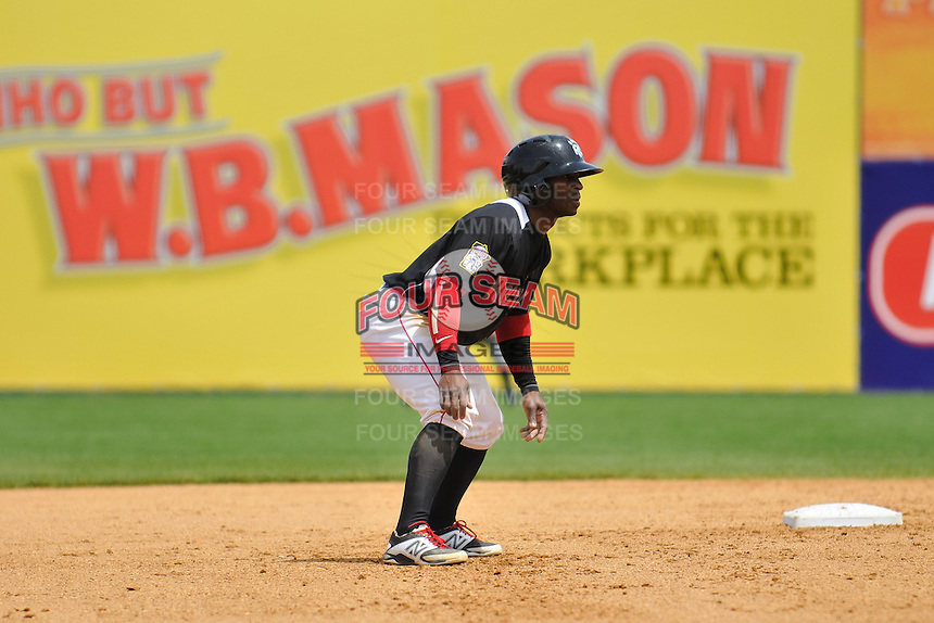 Corey Wimberly (1) of the New Britain Rock Cats leads off second base during a game against the Trenton Thunder at New Britain Stadium on May 7, 2014 in New Britain, Connecticut.  Trenton defeated New Britain 6-4.  (Gregory Vasil/Four Seam Images)