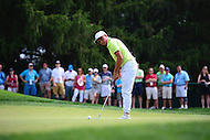 Bethesda, MD - June 24, 2016: Rickie Fowler putts on the #2 green during Round 2 of professional play at the Quicken Loans National Tournament at the Congressional Country Club in Bethesda, MD, June 24, 2016.  (Photo by Don Baxter/Media Images International)