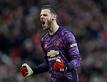 David De Gea of Manchester United celebrates the first goal during the Premier League match at Old Trafford, Manchester. Picture date: 8th March 2020. Picture credit should read: Darren Staples/Sportimage
