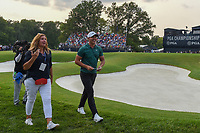 Brooks Koepka (USA) and his Mom depart the green on 18 after winning the 100th PGA Championship at Bellerive Country Club, St. Louis, Missouri. 8/12/2018.<br /> Picture: Golffile | Ken Murray<br /> <br /> All photo usage must carry mandatory copyright credit (&copy; Golffile | Ken Murray)