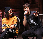 "Sasha Hollinger, Thayne Jasperson during The Rockefeller Foundation and The Gilder Lehrman Institute of American History sponsored High School student #eduHam matinee performance of ""Hamilton"" Q & A at the Richard Rodgers Theatre on November 28, 2018 in New York City."