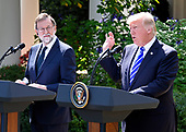 United States President Donald J. Trump, right, and President of the Government or Prime Minister Mariano Rajoy of Spain, left, conduct a joint press conference in the Rose Garden of the White House in Washington, DC on Tuesday, September 26, 2017.<br /> Credit: Ron Sachs / CNP