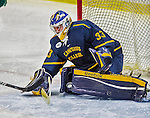 29 December 2013:  Canisius College Golden Griffins goaltender Keegan Asmundson, a Junior from Inver Grove Heights, MN, makes a third period save against the University of Vermont Catamounts at Gutterson Fieldhouse in Burlington, Vermont. The Catamounts defeated the Golden Griffins 6-2 in the 2013 Sheraton/TD Bank Catamount Cup NCAA Hockey Tournament. Mandatory Credit: Ed Wolfstein Photo *** RAW (NEF) Image File Available ***