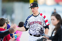 Kannapolis Intimidators catcher Nate Nolan (22) high fives fans prior to the game against the Lakewood BlueClaws at Kannapolis Intimidators Stadium on April 7, 2017 in Kannapolis, North Carolina.  The BlueClaws defeated the Intimidators 6-4.  (Brian Westerholt/Four Seam Images)