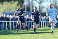 Craig Holland of London Scottish breaks free during the Greene King IPA Championship match between London Scottish Football Club and Bedford Blues at Richmond Athletic Ground, Richmond, United Kingdom on 25 March 2017. Photo by David Horn / PRiME Media Images.