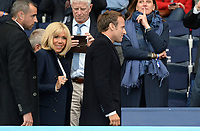 20190607 - PARIS , FRANCE : French president Emmanuel Macron pictured with French first lady Brigritte Macron (left) during the female soccer game between France – Les Bleues  and Korea Republic, the opening game and first game for both teams in group A during the FIFA Women's  World Championship in France 2019, Friday 7 th June 2019 at the Parc des Princes Stadium in Paris , France .  PHOTO SPORTPIX.BE | DAVID CATRY