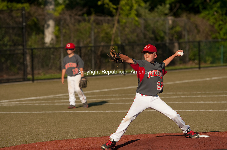 WATERBURY, CT--- -071015JS04--Cheshire's Evan Clark (22) delivers a pitch  during their Willie Mays Tournament game against Hit Club of Thomaston Friday at Municipal Stadium in Waterbury. <br /> Jim Shannon Republican-American