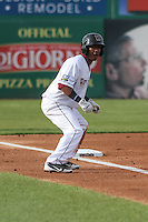 Wisconsin Timber Rattlers infielder Francisco Castillo (23) leads off third base during a Midwest League game against the Beloit Snappers on May 30th, 2015 at Fox Cities Stadium in Appleton, Wisconsin. Wisconsin defeated Beloit 5-3 in the completion of a game originally started on May 29th before being suspended by rain with the score tied 3-3 in the sixth inning. (Brad Krause/Four Seam Images)