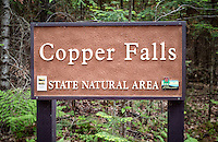 Copper Falls State Park contains ancient lava flows, deep gorges and spectacular waterfalls make this one of the state's most scenic parks. Log buildings from the 1930s CCC era add a special charm. The call of the loon, the forest primeval, the timeless character of cascading waterfalls; these and more await the visitor to Copper Falls State Park.