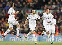 Real Madrid's Xabi Alonso, Alvaro Arbeloa and Raphael Varane celebarte goal during Copa del Rey - King's Cup semifinal second match.February 26,2013. (ALTERPHOTOS/Acero) /Nortephoto