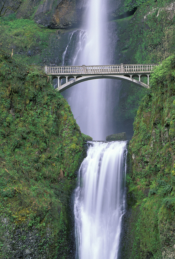 Multnomah Falls and bridge, Columbia River Gorge, Portland, Oregon