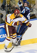 David Grun (Duluth - 27), Ryan Hegarty (Maine - 44) - The University of Minnesota Duluth Bulldogs defeated the University of Maine Black Bears 5-2 in their NCAA Northeast semifinal on Saturday, March 24, 2012, at the DCU Center in Worcester, Massachusetts.