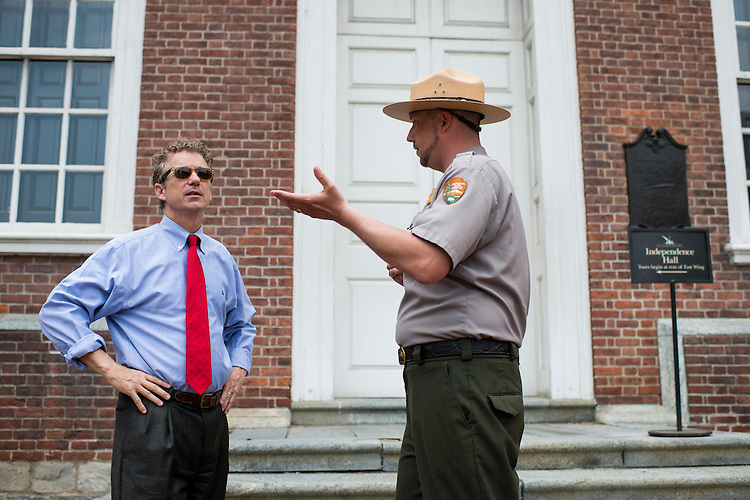 UNITED STATES - MAY 18: Park ranger Adam Duncan gives Presidential candidate Sen. Rand Paul, R-Ky., a tour of Independence Hall in Philadelphia on Monday, May, 18, 2015. (Photo By Bill Clark/CQ Roll Call)