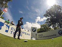 19.05.2015. Wentworth, England. BMW PGA Golf Championship. Practice Day.  Soren Kjeldsen prepares to drives on the Par 5 4th Tee during the practice round of the 2015 BMW PGA Championship from The West Course Wentworth Golf Club