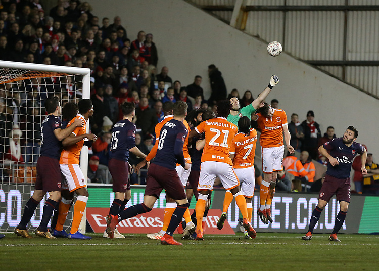 Arsenal's Petr Cech punches clear from Blackpool's Paudie O'Connor<br /> <br /> Photographer Stephen White/CameraSport<br /> <br /> Emirates FA Cup Third Round - Blackpool v Arsenal - Saturday 5th January 2019 - Bloomfield Road - Blackpool<br />  <br /> World Copyright © 2019 CameraSport. All rights reserved. 43 Linden Ave. Countesthorpe. Leicester. England. LE8 5PG - Tel: +44 (0) 116 277 4147 - admin@camerasport.com - www.camerasport.com