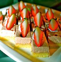 Vanilla sponge slice cake stawberry mousse fresh bakery desserts food photo