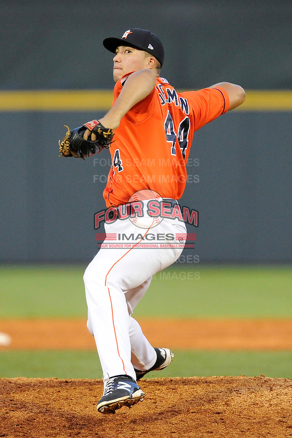 Pitcher Devonte German (44) of the Greeneville Astros delivers a pitch in a game against the Bristol Pirates on Friday, July 25, 2014, at Pioneer Park in Greeneville, Tennessee. Greeneville won, 9-4. (Tom Priddy/Four Seam Images)
