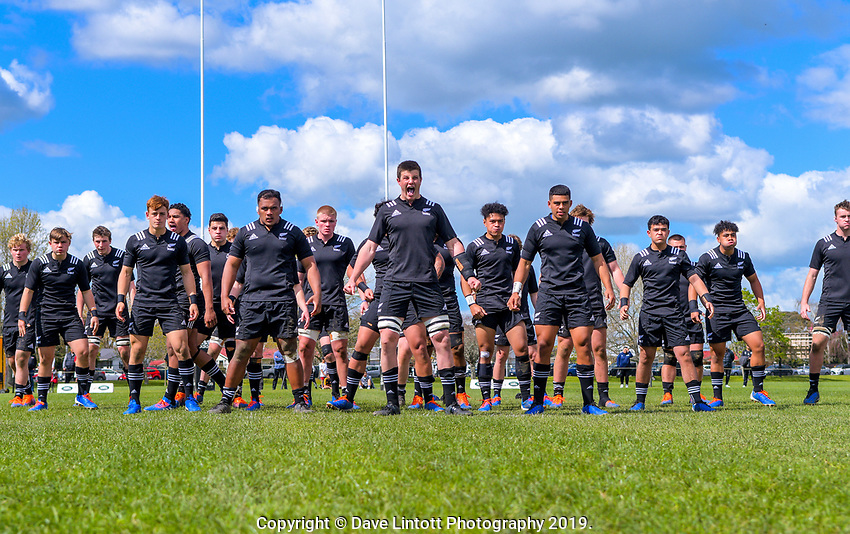 The NZ team performs a haka before the rugby union match between New Zealand Schools and Australia Under-18s at St Paul's Collegiate in Hamilton, New Zealand on Friday, 4 October 2019. Photo: Dave Lintott / lintottphoto.co.nz