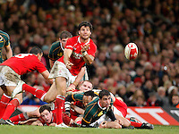 Photo: Richard Lane/Richard Lane Photography..Wales v South Africa. Prince William Cup. 24/11/2007. .Wales' Mike Phillips passes.