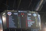 08.05.2018, EWE Arena, Oldenburg, GER, BBL, Playoff, Viertelfinale Spiel 2, EWE Baskets Oldenburg vs ALBA Berlin, im Bild<br /> Anzeigentafel mit dem Endstand. Sieg fuer die Baskets aus Oldenburg gegen ALBA Berlin 105 zu 100 nach Verl&auml;ngerung damit steht es 1 zu 1 im Playoff Viertelfinale<br />  (EWE Baskets Oldenburg  #Anzeigentafel)<br /> Foto &copy; nordphoto / Rojahn