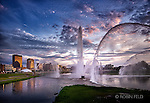 Dayton ohio skyline photo with fountains.