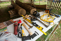 NWA Democrat-Gazette/BEN GOFF @NWABENGOFF<br /> A view of tools ready for use Saturday, April 14, 2018, during a ceremony to launch a project to build a Marshallese KorKor, a type of outrigger canoe, at the Shiloh Museum of Ozark History in Springdale. Over the coming weeks master builder Liton Beasa, born and raised on Namdrik Atoll in the Marshall Islands and living in Springdale since 2013, and his family will build a roughly 20 foot long KorKor at the museum with opportunities for school groups and the public to observe. On the Marshall Islands canoes are built from breadfruit trees, but this canoe will be built from a locally-sourced sycamore tree. The builders plan to feature the finished canoe during Jemenei Day (Marshallese constitution day) celebrations in Springdale between May 25-28. The project is supported by the Arkansas Coalition of Marshallese of Springdale and the Shiloh Museum of Ozark History, with grants from the Arkansas Humanities Council and the National Endowment for the Humanities.