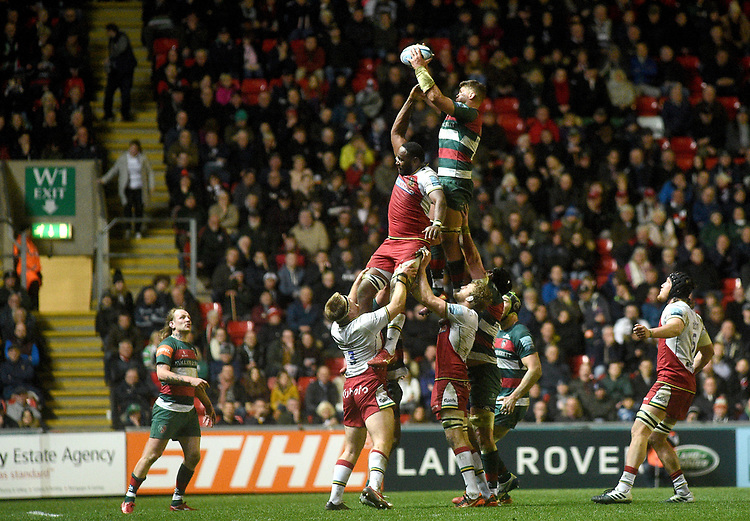 Leicester Tigers' Mike Williams<br /> <br /> Photographer Hannah Fountain/CameraSport<br /> <br /> Gallagher Premiership - Leicester Tigers v Northampton Saints - Friday 22nd March 2019 - Welford Road - Leicester<br /> <br /> World Copyright © 2019 CameraSport. All rights reserved. 43 Linden Ave. Countesthorpe. Leicester. England. LE8 5PG - Tel: +44 (0) 116 277 4147 - admin@camerasport.com - www.camerasport.com