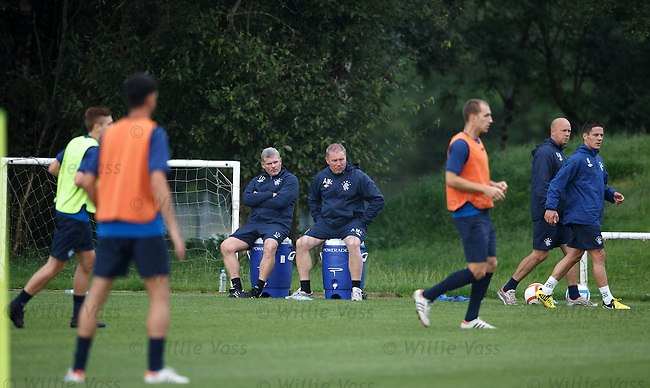 Ian Durrant and Ally McCoist watching a practice game at training