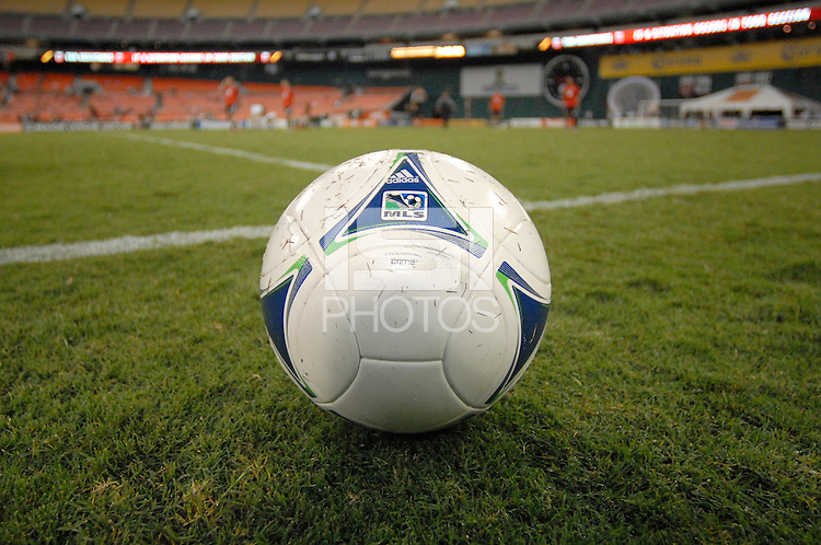 MLS game ball. The New York Red Bulls tied D.C. United 2-2 at RFK Stadium, Wednesday August 29, 2012.