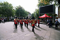Pictured: The Welsh Guards parade in Castle Square, Swansea.  Friday 15 September 2017<br />Re: Soldiers from the Welsh Guards have exercised their freedom to march through the streets of Swansea in Wales, UK.<br />The Welsh warriors paraded with bayonets-fixed from the city centre to the Brangwyn Hall, where the Lord Mayor of Swansea took a salute.