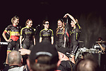 Mitchelton-Scott at the Team presentation of La Fleche Wallonne Femmes 2018 running 118.5km from Huy to Huy, Belgium. 17/04/2018.<br /> Picture: ASO/Thomas Maheux | Cyclefile.<br /> <br /> All photos usage must carry mandatory copyright credit (&copy; Cyclefile | ASO/Thomas Maheux)