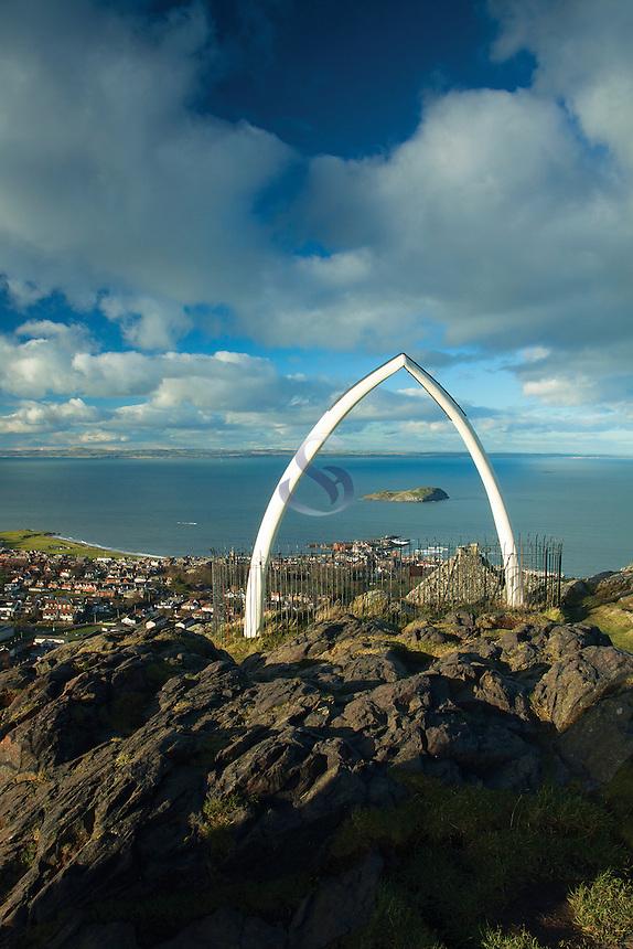 North Berwick, Whalebone Arch and Fife from North Berwick Law, East Lothian Coastline