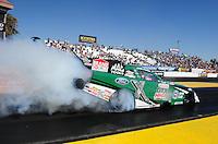 Feb. 17 2012; Chandler, AZ, USA; NHRA funny car driver John Force during qualifying for the Arizona Nationals at Firebird International Raceway. Mandatory Credit: Mark J. Rebilas-