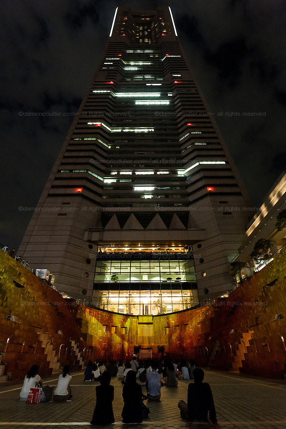 A projection mapping display telling the story of Yokohama in the old docks at under the Landmark Tower in Sakuragicho, Yokohama, Kanagawa, Japan. Sunday  September 27th 2015