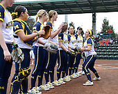 Michigan Wolverines infielder Abby Ramirez (1) during introductions before the season opener against the Florida Gators on February 8, 2014 at the USF Softball Stadium in Tampa, Florida.  Florida defeated Michigan 9-4 in extra innings.  (Copyright Mike Janes Photography)