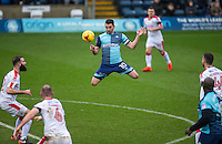 Matt Bloomfield of Wycombe Wanderers heads the ball during the Sky Bet League 2 match between Wycombe Wanderers and Crawley Town at Adams Park, High Wycombe, England on 25 February 2017. Photo by Andy Rowland / PRiME Media Images.