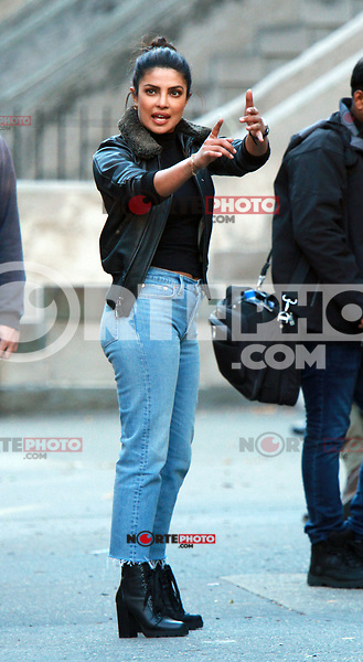 NEW YORK, NY - OCTOBER 27: Priyanka Chopra on the set of Quantico in New York City on October 27, 2017. Credit: RW/MediaPunch /NortePhoto.com