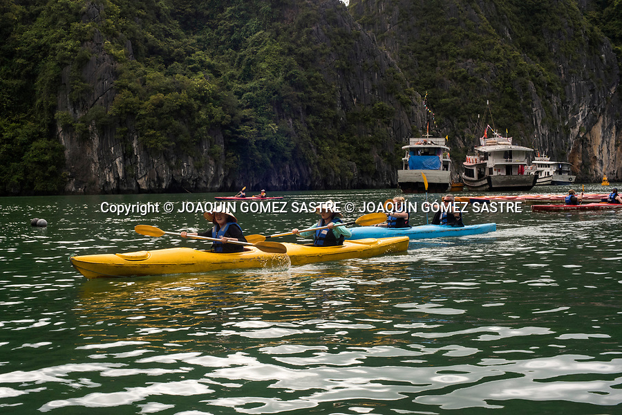 Kayak tours are one of the attractions of Halong Bay in Vietnam<br /> HALONG-VIETNAM