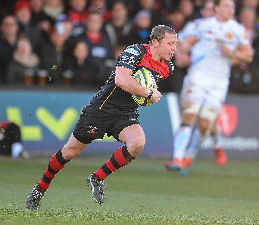 Newport Gwent Dragons' Richie Rees in action during todays match<br /> <br /> Photographer Craig Thomas/CameraSport<br /> <br /> Rugby Union - European Rugby Challenge Cup Pool 3 - Newport Gwent Dragons v Exeter Chiefs - Sunday 1st February  2015 - Rodney Parade - Newport <br /> <br /> &copy; CameraSport - 43 Linden Ave. Countesthorpe. Leicester. England. LE8 5PG - Tel: +44 (0) 116 277 4147 - admin@camerasport.com - www.camerasport.com