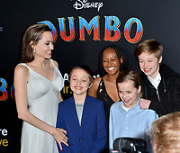 LOS ANGELES, CA. March 11, 2019: Angelina Jolie &amp; Family at the world premiere of &quot;Dumbo&quot; at the El Capitan Theatre.<br /> Picture: Paul Smith/Featureflash