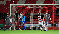 Doncaster Rovers' Cameron John celebrates scoring his side's equalising goal to make the score 1-1<br /> <br /> Photographer Chris Vaughan/CameraSport<br /> <br /> EFL Leasing.com Trophy - Northern Section - Group H - Doncaster Rovers v Lincoln City - Tuesday 3rd September 2019 - Keepmoat Stadium - Doncaster<br />  <br /> World Copyright © 2018 CameraSport. All rights reserved. 43 Linden Ave. Countesthorpe. Leicester. England. LE8 5PG - Tel: +44 (0) 116 277 4147 - admin@camerasport.com - www.camerasport.com