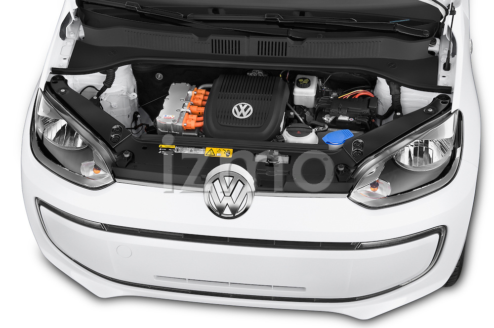Car Stock 2014 Volkswagen up! e-up! 5 Door Hatchback 2WD Engine high angle detail view